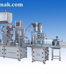 Plastic Bottle Filling Sealing and Label Machine with 8 Nozzles Aluminium